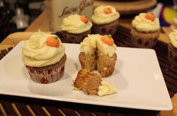 Cupcakes de calabaza con frosting de mascarpone
