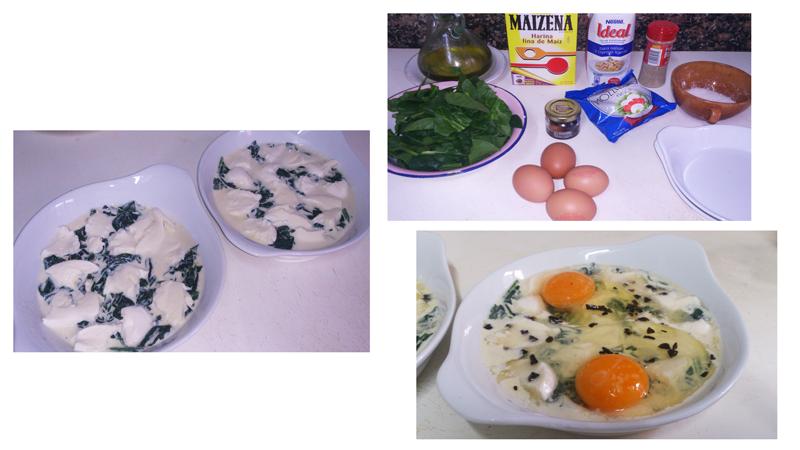 Huevos al plato con espinacas y mozzarella - paso a paso