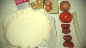 Tarta de cebolla con chorizo - ingredientes