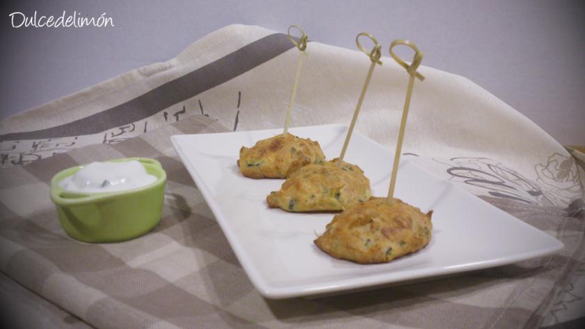 Buñuelos de camarones y calabacín al horno