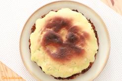 Tarta de patatas y bacalao con ajaceite al horno
