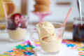 Helado de Galletas y Yogur con Coulis de Cerezas Sin Azúcar y Sin Lactosa